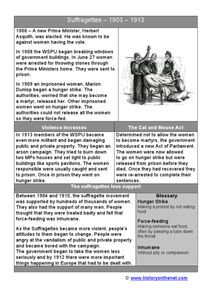 Suffragettes 1903-1913 Worksheet