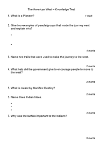 The American West-Knowledge Test Worksheet
