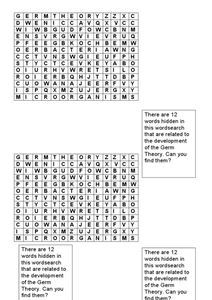 Germ Theory Word Search Worksheet