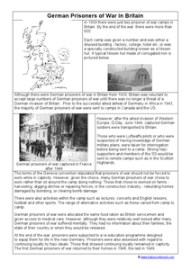 German Prisoners of War in Britain Worksheet
