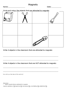 Magnets Assessment Worksheet
