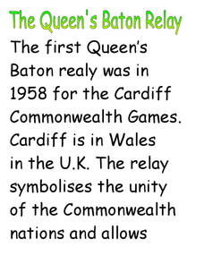 The Queen's Baton Relay Worksheet