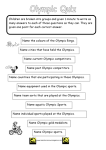 Olympic Quiz Worksheet