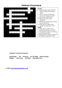 Vietnam Crossword Worksheet