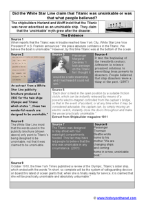 White Star Line and the Titanic Worksheet
