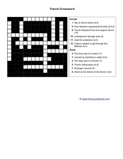 Trench Warfare Crossword Puzzle Worksheet