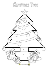 Christmas Tree Coloring With Instructions Worksheet