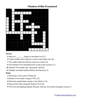 Theatres of War Crossword Worksheet