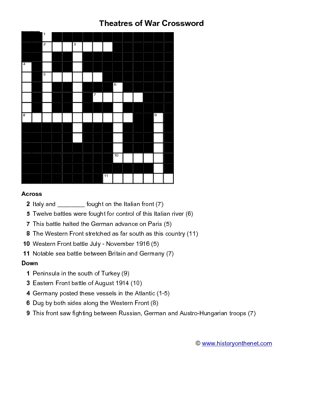 Theatres of War Crossword Worksheet for 5th - 6th Grade ...