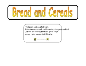 Bread and Cereals Worksheet