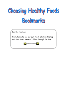 Choosing Healthy Foods Bookmarks Lesson Plan