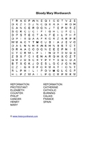 Bloody Mary Word Search Worksheet