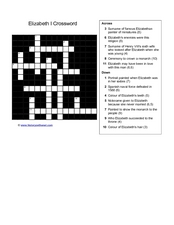 Elizabeth I Crossword Worksheet