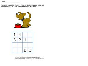 Sudoku 4x4 Worksheet
