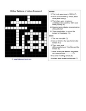 Whites' Opinions of Indians Crossword Worksheet