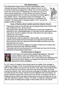 The Reformation in England Worksheet