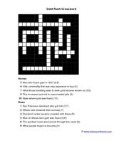Gold Rush Crossword Worksheet