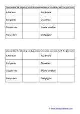 Gold Rush Word Scramble Worksheet