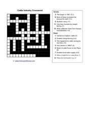 Cattle Industry Crossword Worksheet