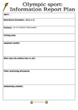 Olympic Report Planning Sheet Worksheet