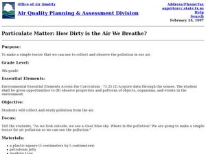 Particulate Matter- How Dirty is the Air We Breathe? Lesson Plan