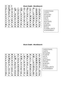 Black Death Word Search Worksheet
