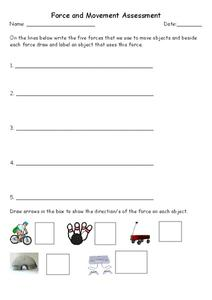 Force and Movement Assessment Worksheet