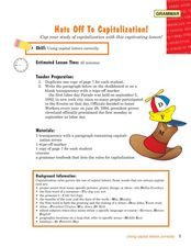 Hats Off to Capitalization Lesson Plan
