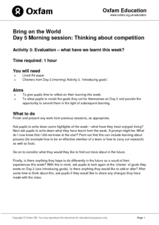 Bring on the World: Thinking about Competition Lesson Plan