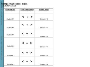 Comparing Student Sizes #1 Worksheet