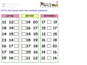 After, Before, and Between Numbers Worksheet