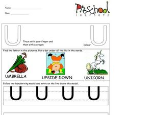 Capital Letters: Letter U Worksheet
