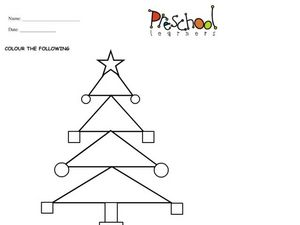 Christmas Tree Shape Activity Worksheet