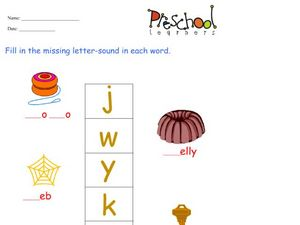 Missing Letters: J,W,Y,K,A Worksheet
