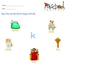 Letter K Words Worksheet