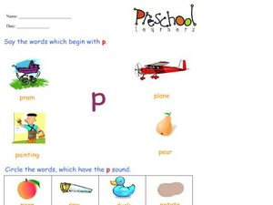 Letter P Words Worksheet