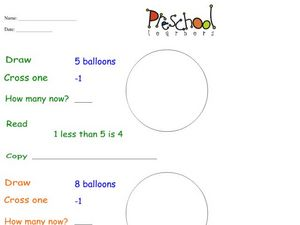 Balloon Subtraction Worksheet