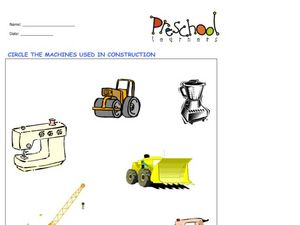 Construction Machines Worksheet