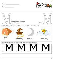 Capital Letter: M Worksheet