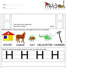 Capital Letter: H Worksheet
