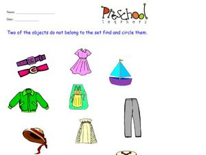 Clothing Items Worksheet