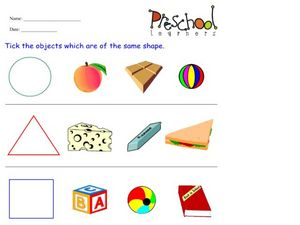 Matching Shapes and Objects Worksheet