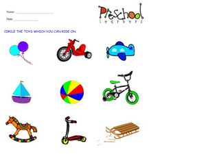 Riding Toys Worksheet