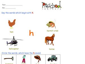 Letter H Words and Sounds Worksheet