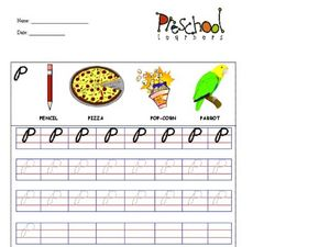 Lowercase Cursive P Worksheet
