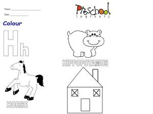Letter Hh is for Hippo, Horse, House and Helicopter Worksheet