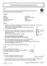 The Effect of Dissolved Salt on the Boiling Point of Water Worksheet