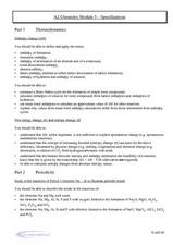 Chemistry Module 5 - Specifications Worksheet