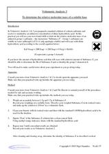 Volumetric Analysis 3-To Determine the Relative Molecular Mass of a Soluble Base Worksheet