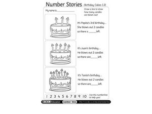 Number Stories: Birthday Cakes Worksheet